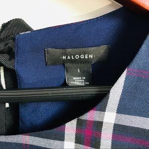 Halogen Tops - Halogen Plaid peplum bow back top